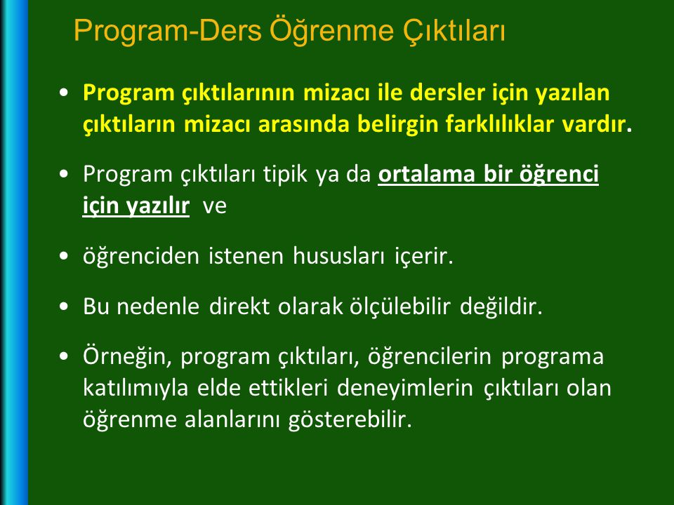 Program-Ders Öğrenme Çıktıları