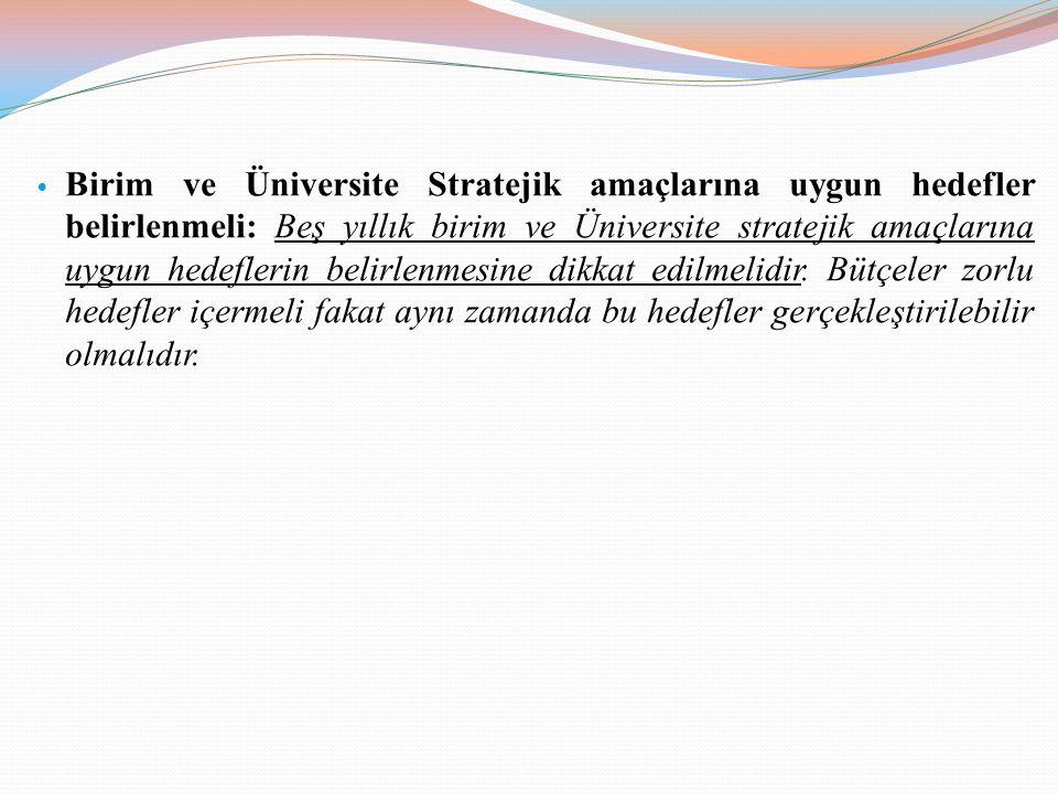 Birim ve Üniversite Stratejik amaçlarına uygun hedefler belirlenmeli: Beş yıllık birim ve Üniversite stratejik amaçlarına uygun hedeflerin belirlenmesine dikkat edilmelidir.