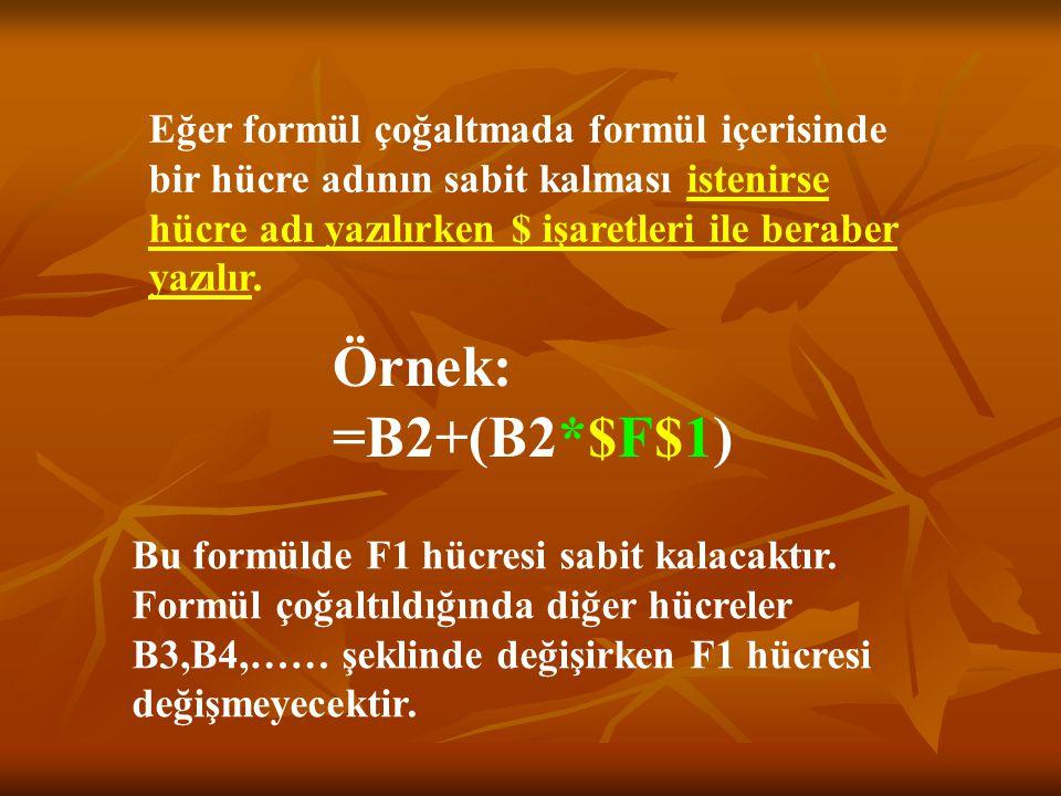 Eğer formül çoğaltmada formül içerisinde bir hücre adının sabit kalması istenirse hücre adı yazılırken $ işaretleri ile beraber yazılır.