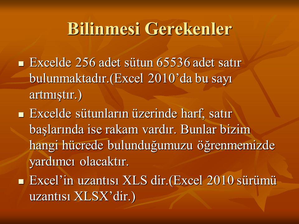 Bilinmesi Gerekenler Excelde 256 adet sütun 65536 adet satır bulunmaktadır.(Excel 2010'da bu sayı artmıştır.)