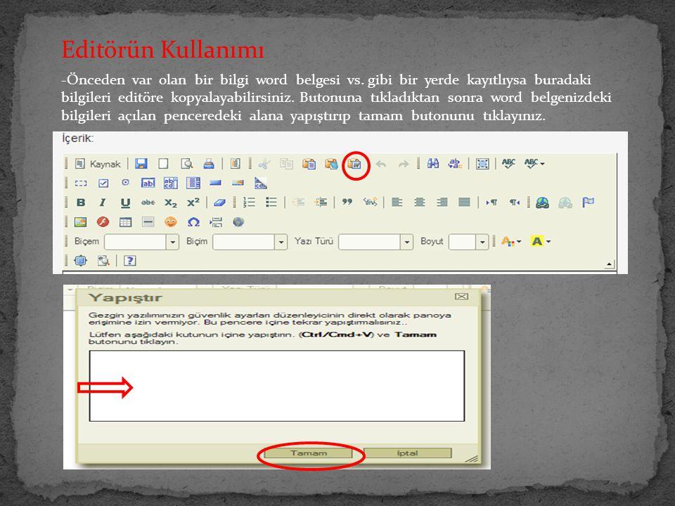 Editörün Kullanımı
