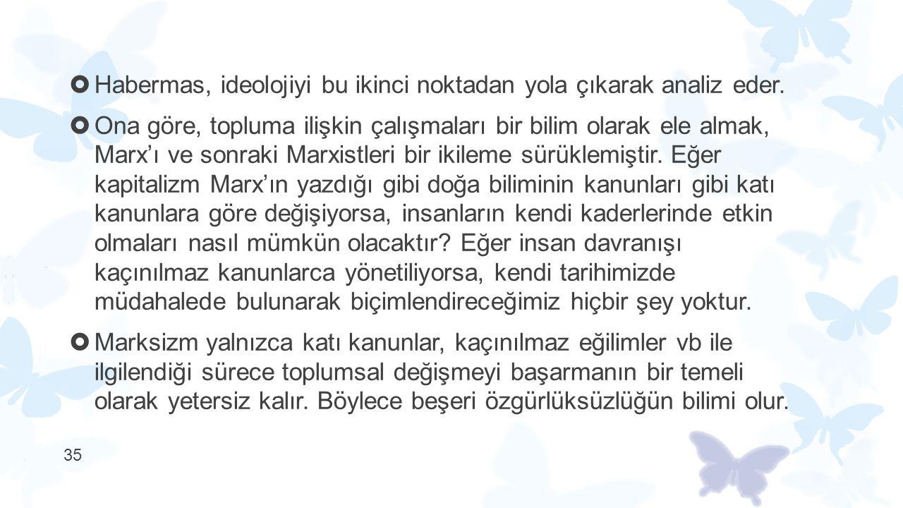 Habermas, ideolojiyi bu ikinci noktadan yola çıkarak analiz eder.