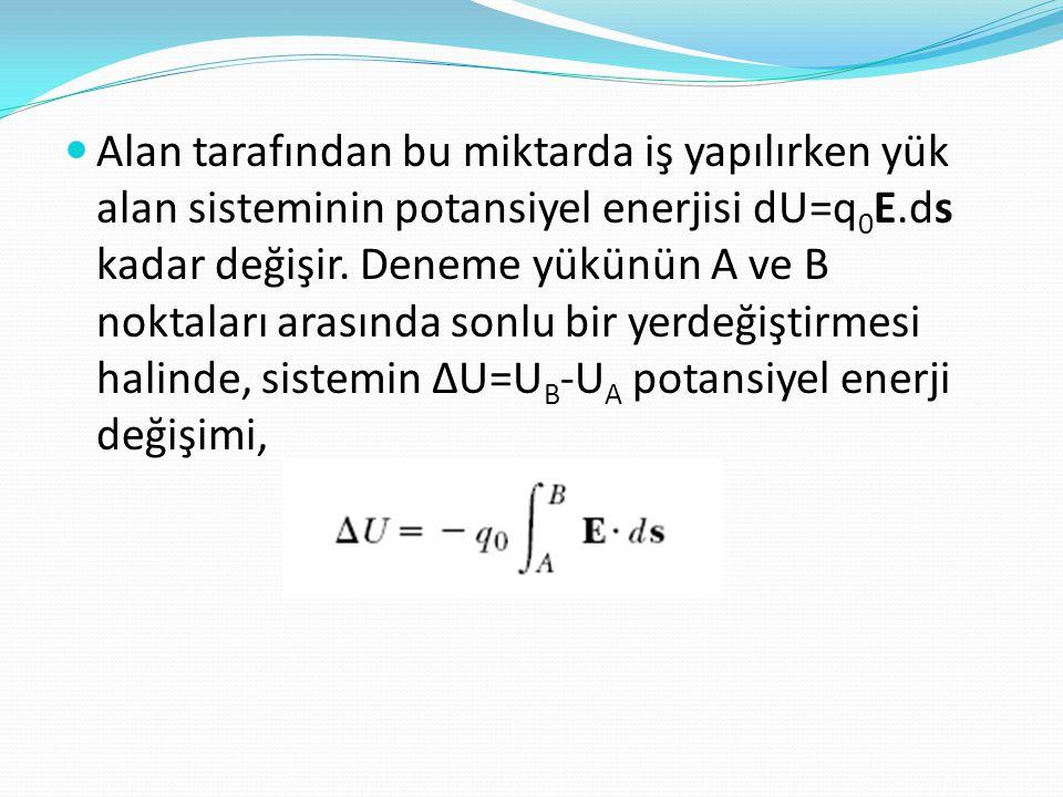 Alan tarafından bu miktarda iş yapılırken yük alan sisteminin potansiyel enerjisi dU=q0E.ds kadar değişir.