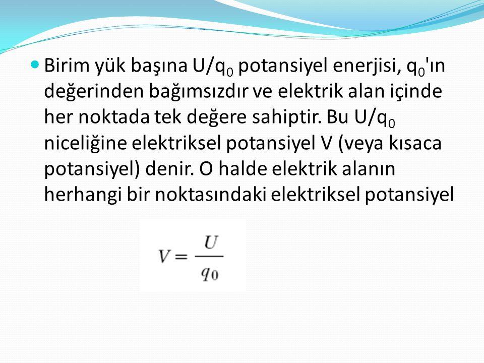 Birim yük başına U/q0 potansiyel enerjisi, q0 ın değerinden bağımsızdır ve elektrik alan içinde her noktada tek değere sahiptir.