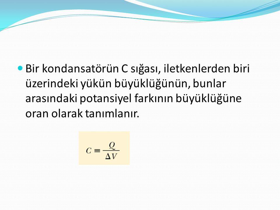 Bir kondansatörün C sığası, iletkenlerden biri üzerindeki yükün büyüklüğünün, bunlar arasındaki potansiyel farkının büyüklüğüne oran olarak tanımlanır.