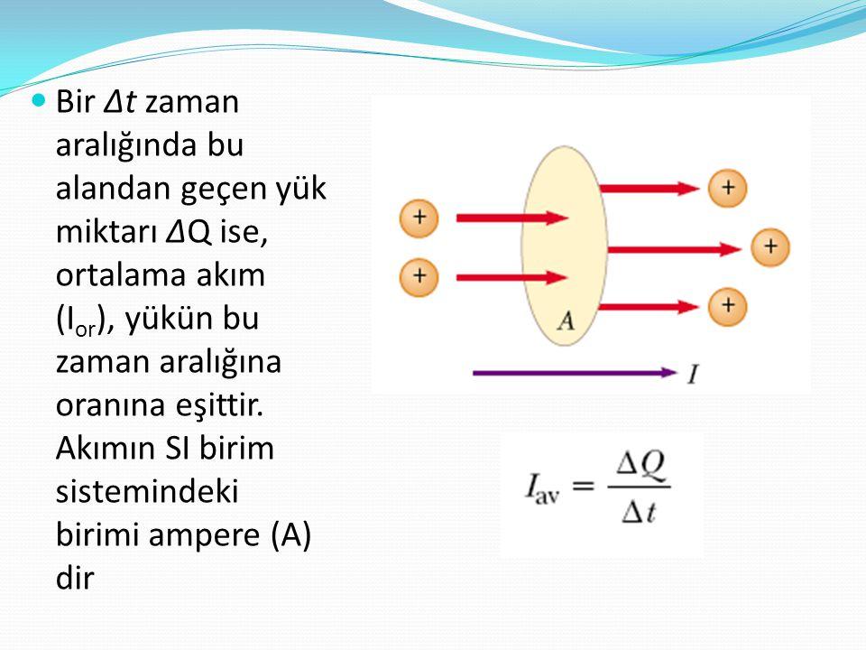 Bir ∆t zaman aralığında bu alandan geçen yük miktarı ∆Q ise, ortalama akım (Ior), yükün bu zaman aralığına oranına eşittir.