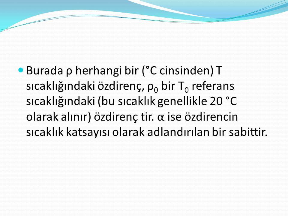 Burada ρ herhangi bir (°C cinsinden) T sıcaklığındaki özdirenç, ρ0 bir T0 referans sıcaklığındaki (bu sıcaklık genellikle 20 °C olarak alınır) özdirenç tir.
