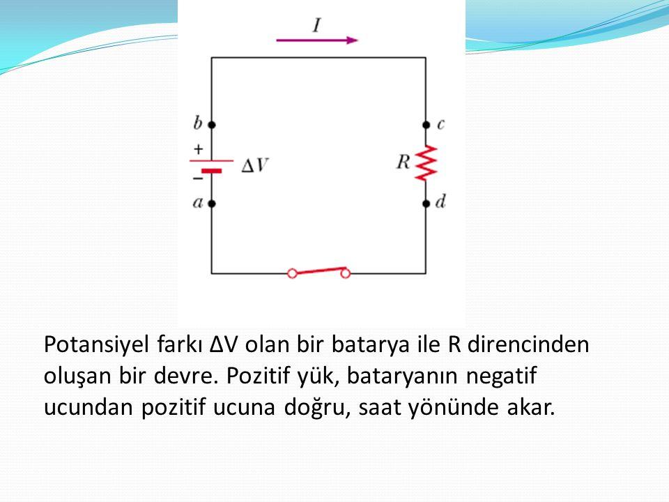 Potansiyel farkı ∆V olan bir batarya ile R direncinden oluşan bir devre.