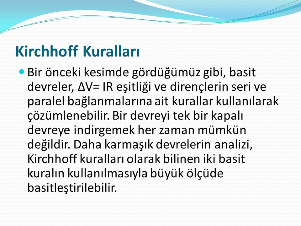Kirchhoff Kuralları