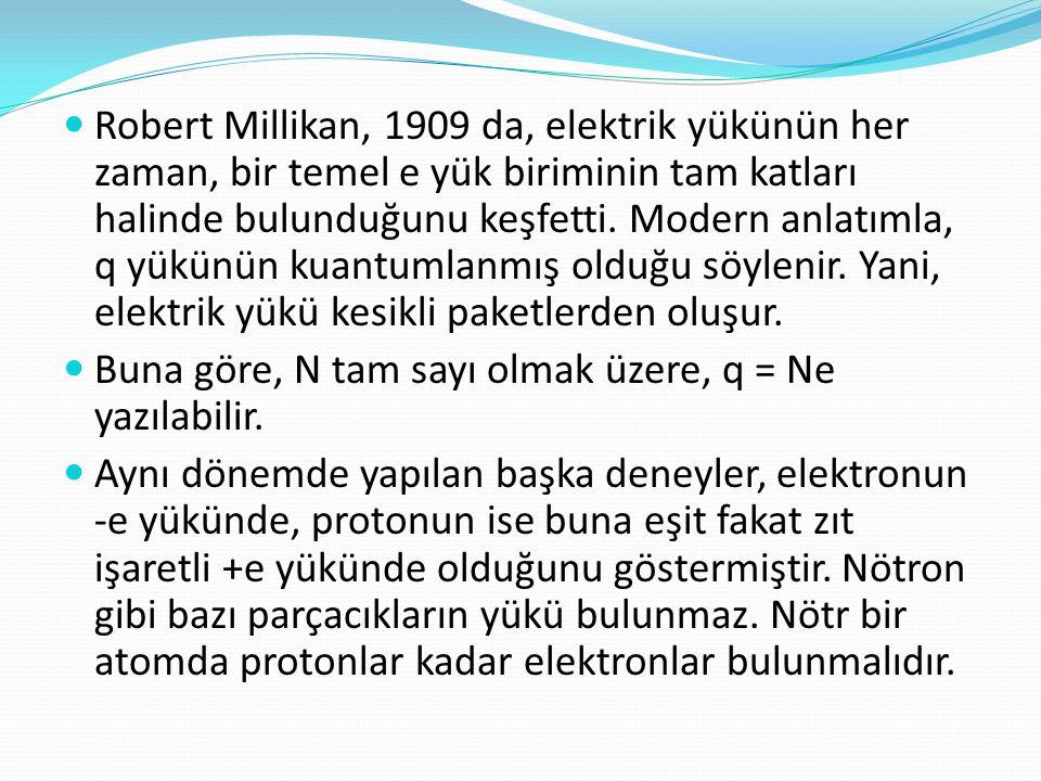 Robert Millikan, 1909 da, elektrik yükünün her zaman, bir temel e yük biriminin tam katları halinde bulunduğunu keşfetti. Modern anlatımla, q yükünün kuantumlanmış olduğu söylenir. Yani, elektrik yükü kesikli paketlerden oluşur.