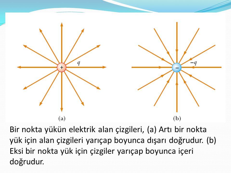 Bir nokta yükün elektrik alan çizgileri, (a) Artı bir nokta yük için alan çizgileri yarıçap boyunca dışarı doğrudur.