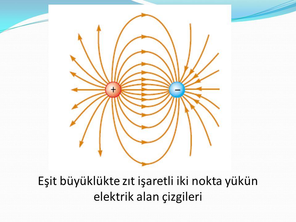 Eşit büyüklükte zıt işaretli iki nokta yükün elektrik alan çizgileri