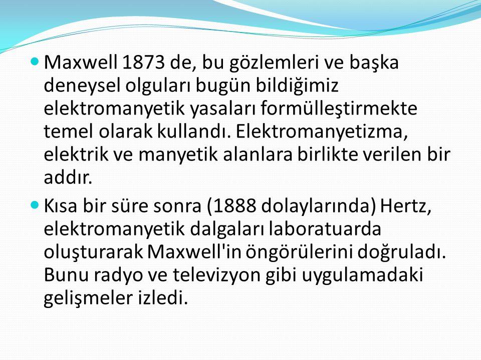 Maxwell 1873 de, bu gözlemleri ve başka deneysel olguları bugün bildiğimiz elektromanyetik yasaları formülleştirmekte temel olarak kullandı. Elektromanyetizma, elektrik ve manyetik alanlara birlikte verilen bir addır.