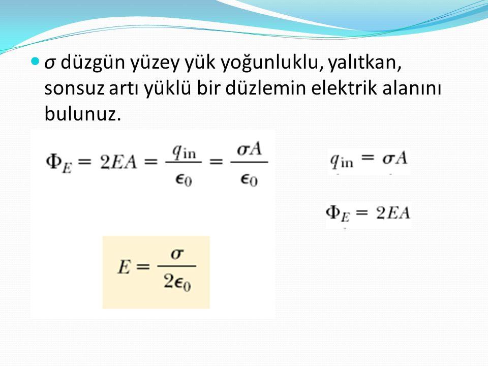 σ düzgün yüzey yük yoğunluklu, yalıtkan, sonsuz artı yüklü bir düzlemin elektrik alanını bulunuz.