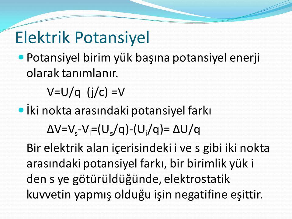 Elektrik Potansiyel Potansiyel birim yük başına potansiyel enerji olarak tanımlanır. V=U/q (j/c) =V.