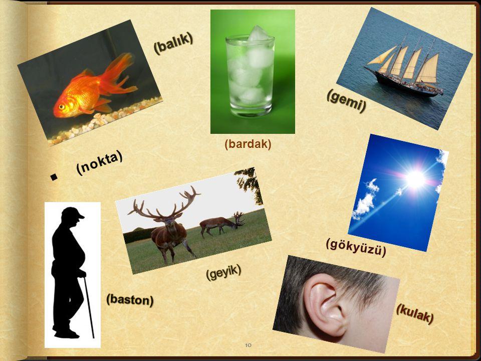 . (balık) (gemi) . (nokta) (bardak) (gökyüzü) (geyik) (baston) (kulak)