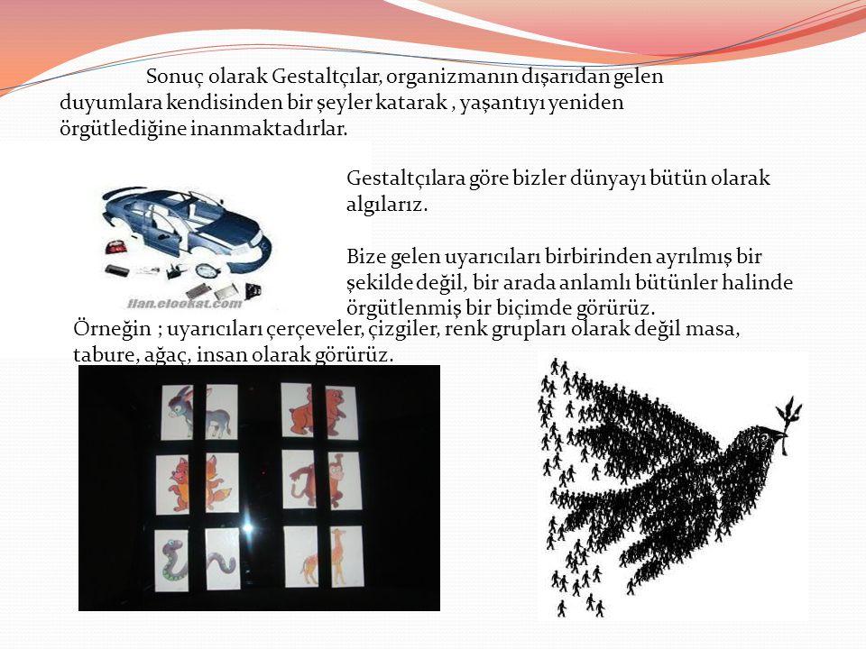 Sonuç olarak Gestaltçılar, organizmanın dışarıdan gelen duyumlara kendisinden bir şeyler katarak , yaşantıyı yeniden örgütlediğine inanmaktadırlar.