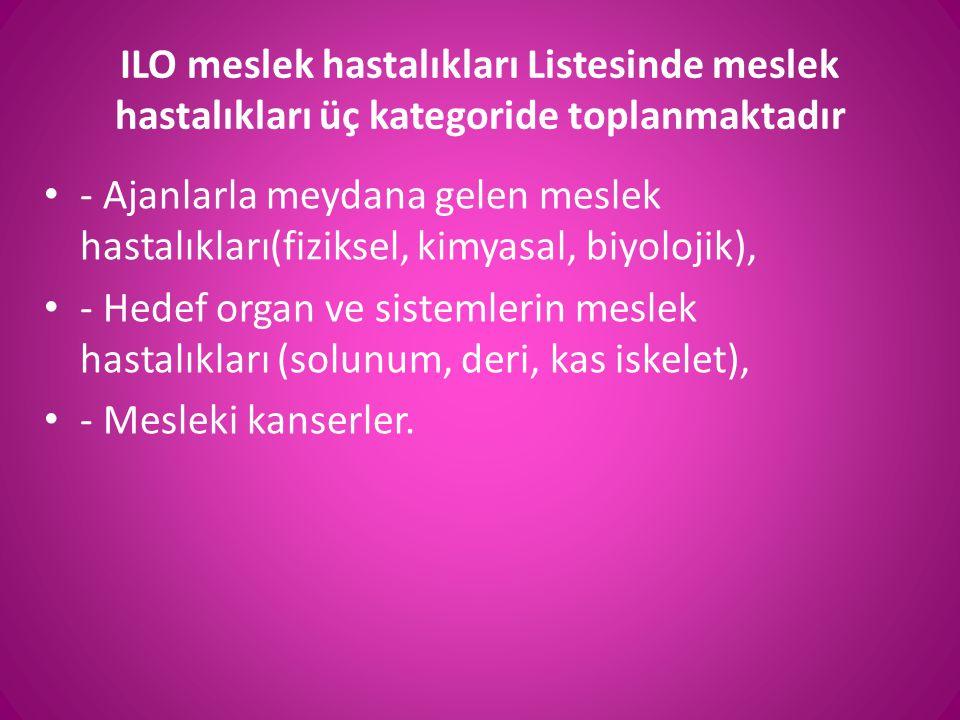 ILO meslek hastalıkları Listesinde meslek hastalıkları üç kategoride toplanmaktadır