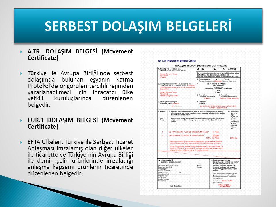 SERBEST DOLAŞIM BELGELERİ