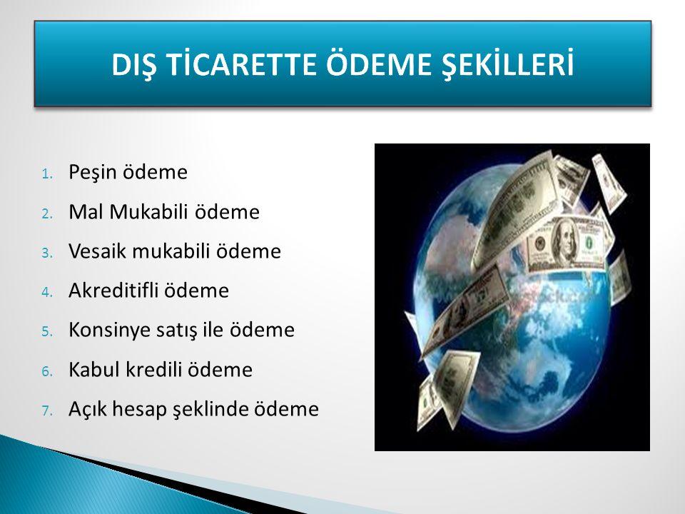 DIŞ TİCARETTE ÖDEME ŞEKİLLERİ