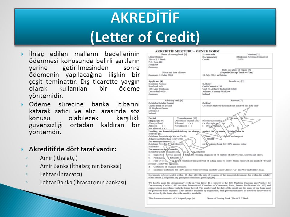 AKREDİTİF (Letter of Credit)
