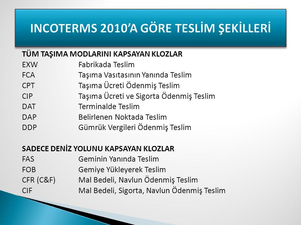 INCOTERMS 2010'A GÖRE TESLİM ŞEKİLLERİ