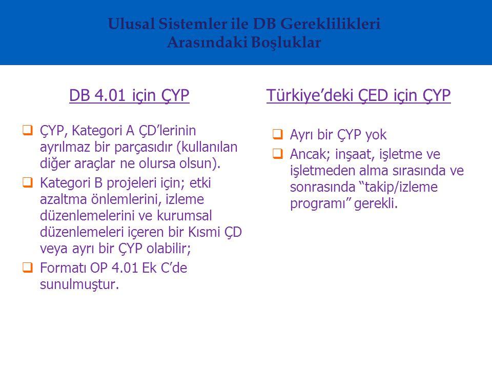Ulusal Sistemler ile DB Gereklilikleri Arasındaki Boşluklar