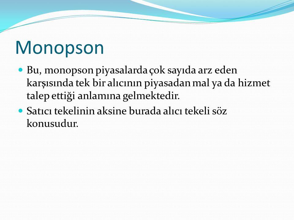 Monopson Bu, monopson piyasalarda çok sayıda arz eden karşısında tek bir alıcının piyasadan mal ya da hizmet talep ettiği anlamına gelmektedir.