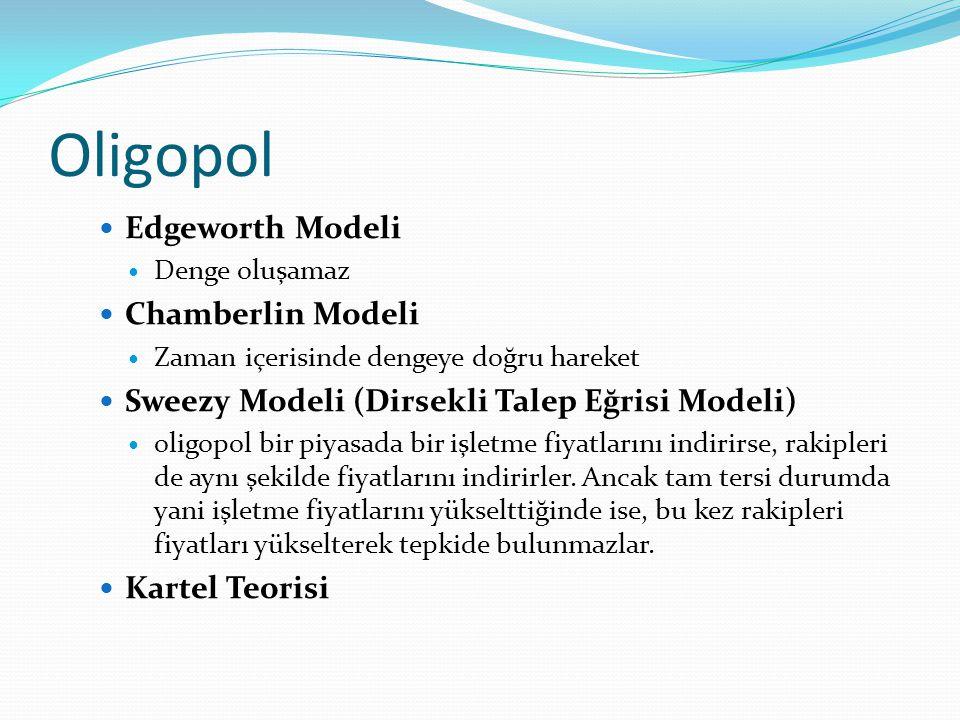 Oligopol Edgeworth Modeli Chamberlin Modeli