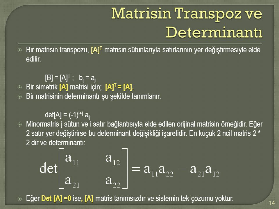 Matrisin Transpoz ve Determinantı