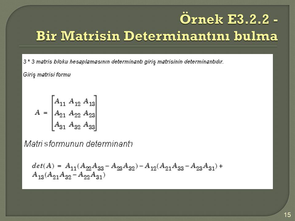Örnek E3.2.2 - Bir Matrisin Determinantını bulma