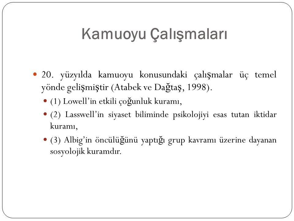 Kamuoyu Çalışmaları 20. yüzyılda kamuoyu konusundaki çalışmalar üç temel yönde gelişmiştir (Atabek ve Dağtaş, 1998).