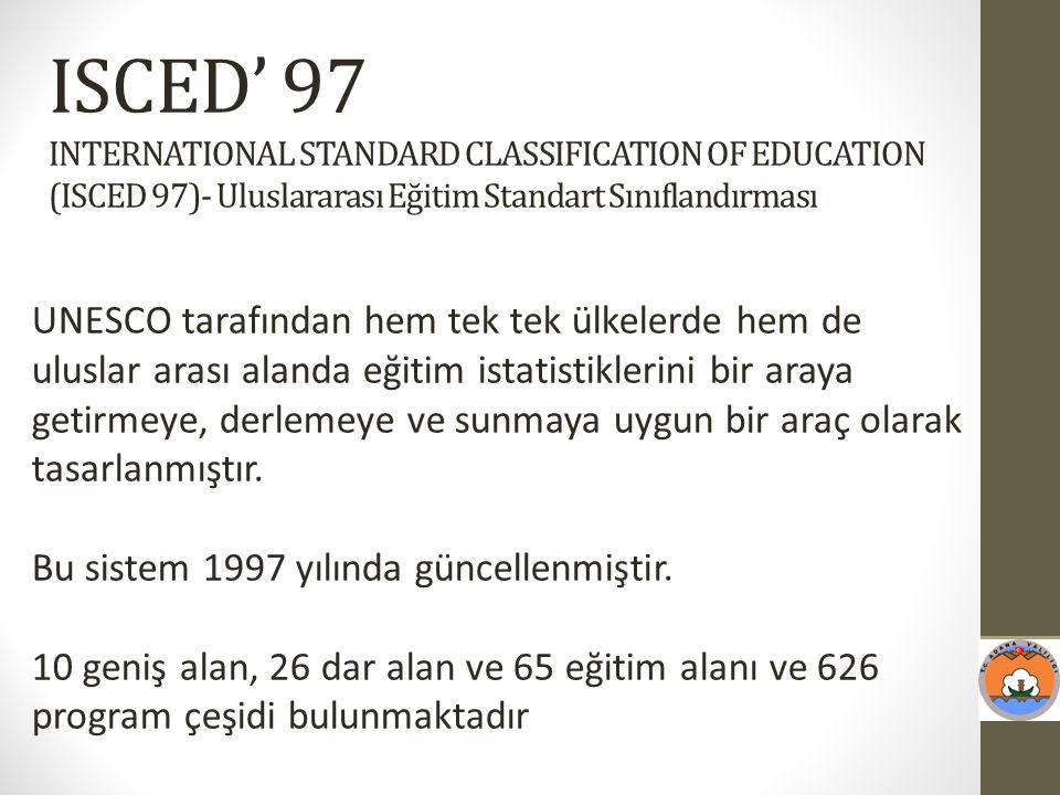 ISCED' 97 INTERNATIONAL STANDARD CLASSIFICATION OF EDUCATION (ISCED 97)- Uluslararası Eğitim Standart Sınıflandırması