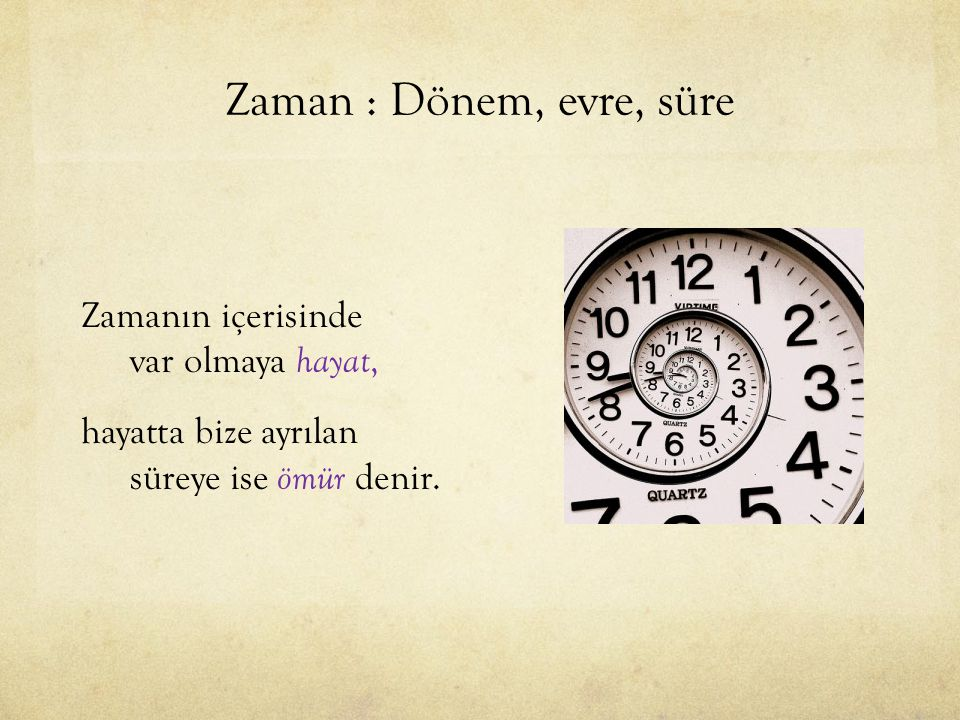 Zaman : Dönem, evre, süre Zamanın içerisinde var olmaya hayat, hayatta bize ayrılan süreye ise ömür denir.