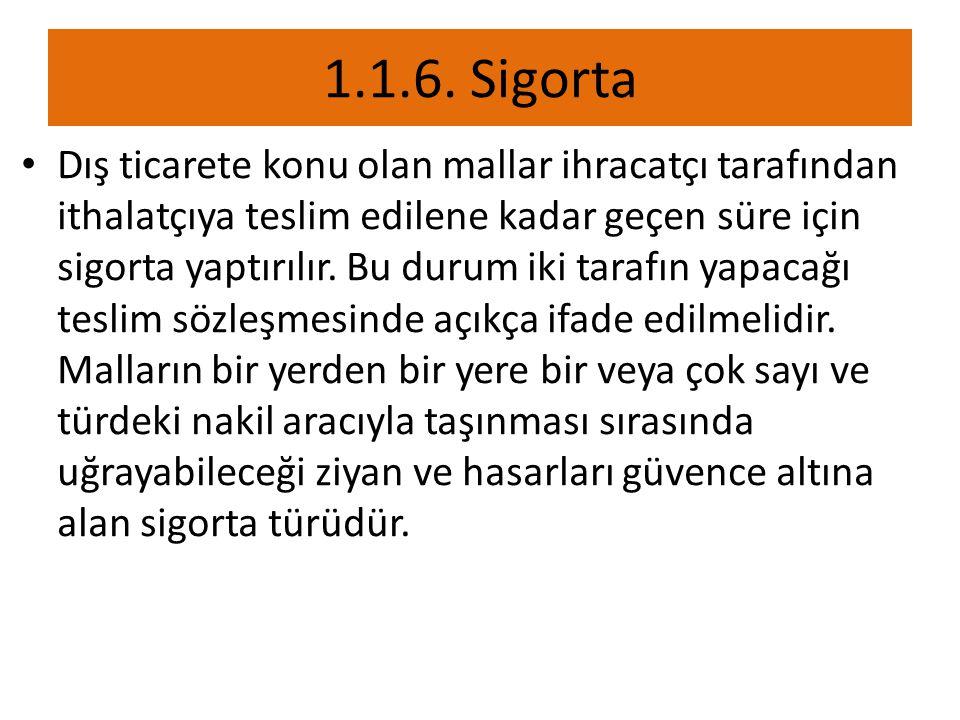 1.1.6. Sigorta