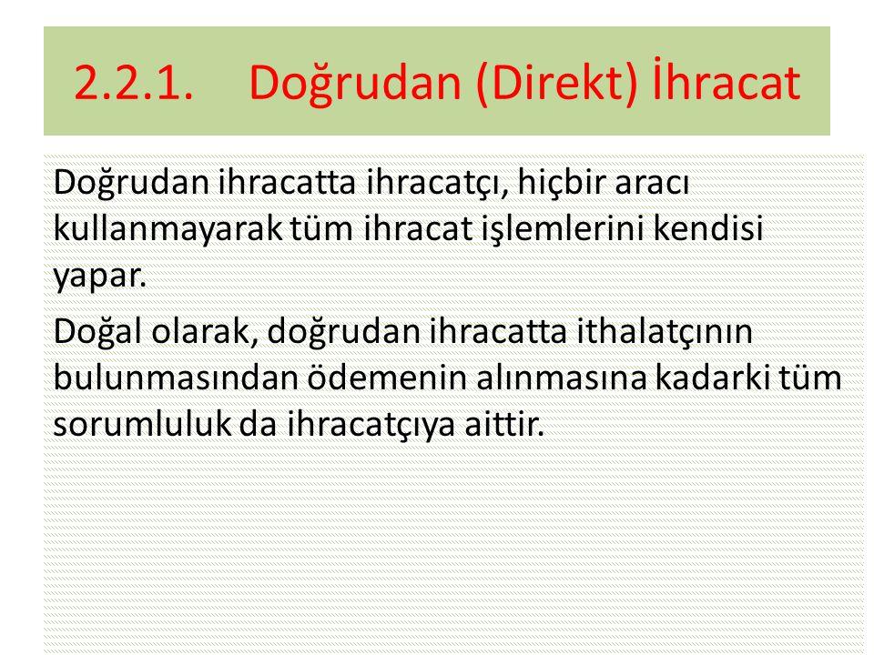 2.2.1. Doğrudan (Direkt) İhracat