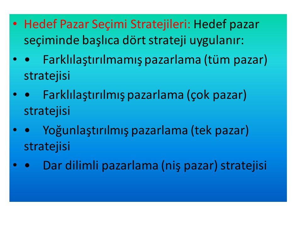 Hedef Pazar Seçimi Stratejileri: Hedef pazar seçiminde başlıca dört strateji uygulanır: