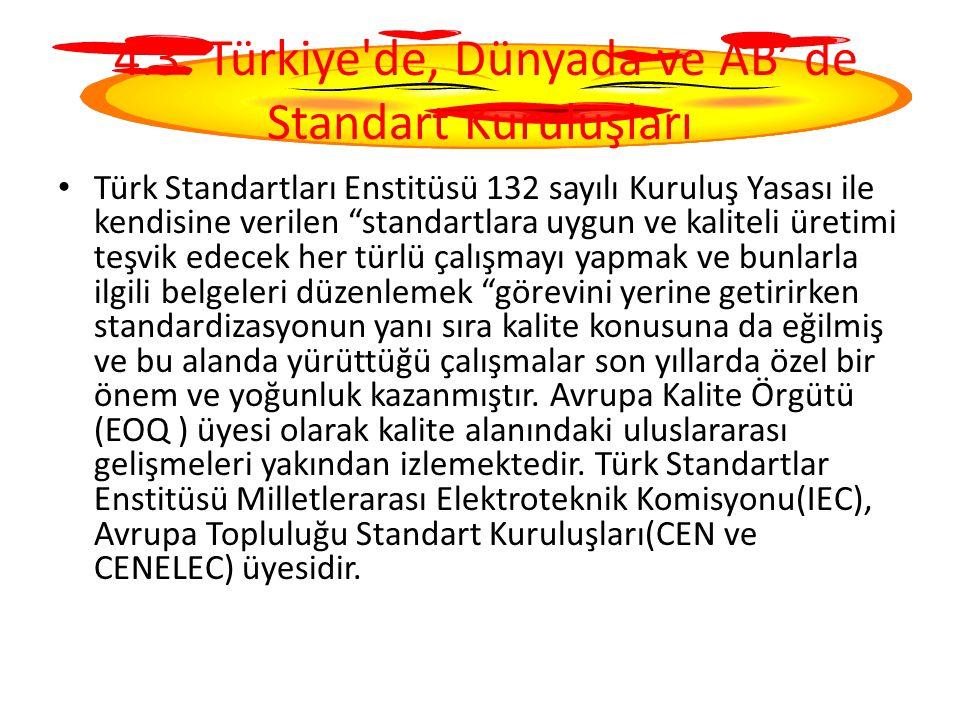 4.3. Türkiye de, Dünyada ve AB' de Standart Kuruluşları