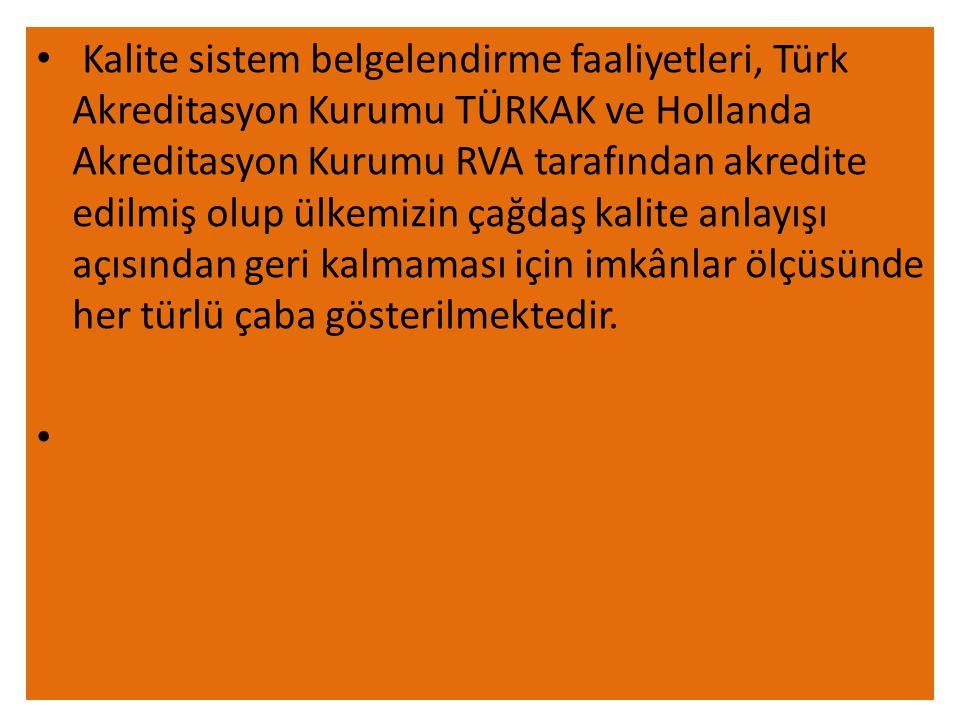 Kalite sistem belgelendirme faaliyetleri, Türk Akreditasyon Kurumu TÜRKAK ve Hollanda Akreditasyon Kurumu RVA tarafından akredite edilmiş olup ülkemizin çağdaş kalite anlayışı açısından geri kalmaması için imkânlar ölçüsünde her türlü çaba gösterilmektedir.
