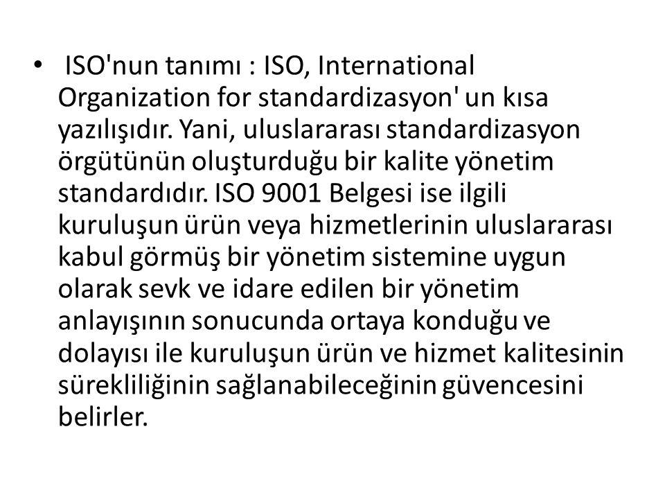 ISO nun tanımı : ISO, International Organization for standardizasyon un kısa yazılışıdır.