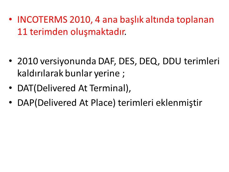 INCOTERMS 2010, 4 ana başlık altında toplanan 11 terimden oluşmaktadır.