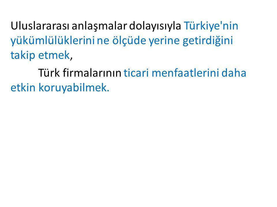 Uluslararası anlaşmalar dolayısıyla Türkiye nin yükümlülüklerini ne ölçüde yerine getirdiğini takip etmek,