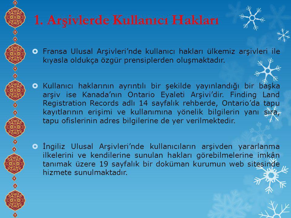 1. Arşivlerde Kullanıcı Hakları