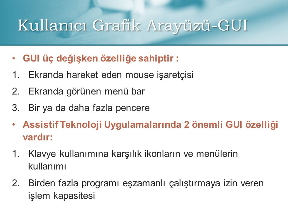 Kullanıcı Grafik Arayüzü-GUI
