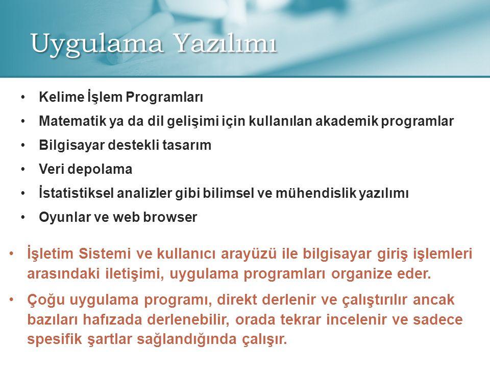 Uygulama Yazılımı Kelime İşlem Programları. Matematik ya da dil gelişimi için kullanılan akademik programlar.