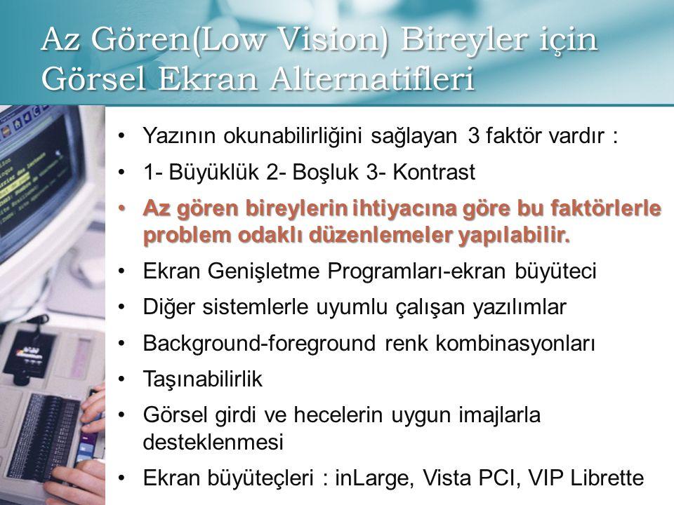 Az Gören(Low Vision) Bireyler için Görsel Ekran Alternatifleri