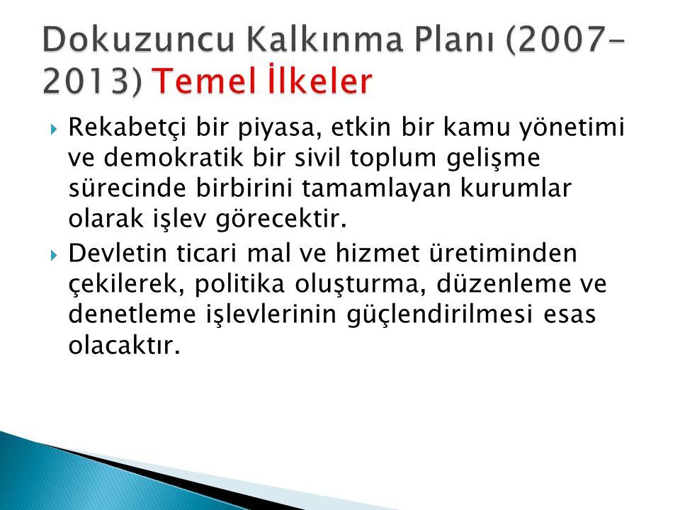 Dokuzuncu Kalkınma Planı (2007-2013) Temel İlkeler