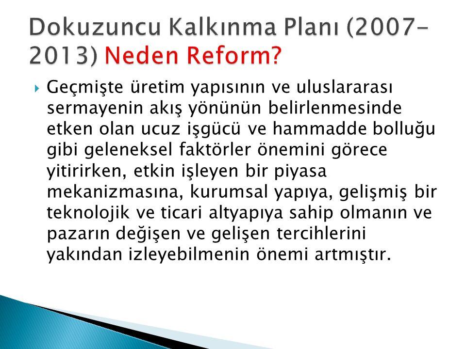 Dokuzuncu Kalkınma Planı (2007-2013) Neden Reform