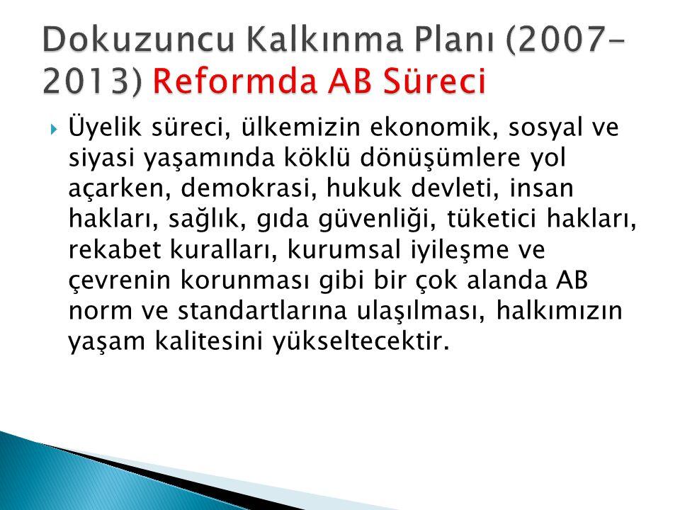 Dokuzuncu Kalkınma Planı (2007-2013) Reformda AB Süreci