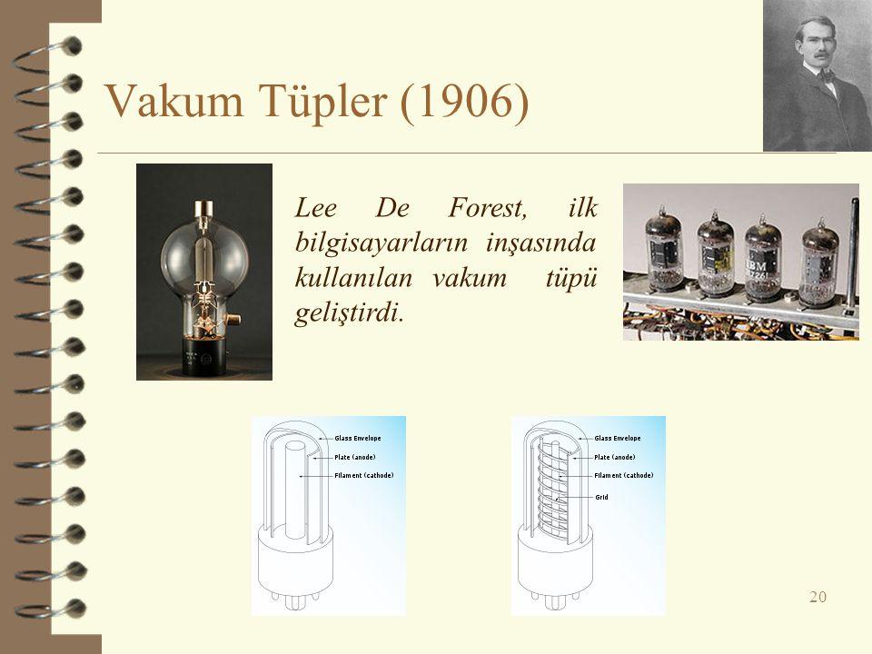 Vakum Tüpler (1906) Lee De Forest, ilk bilgisayarların inşasında kullanılan vakum tüpü geliştirdi.